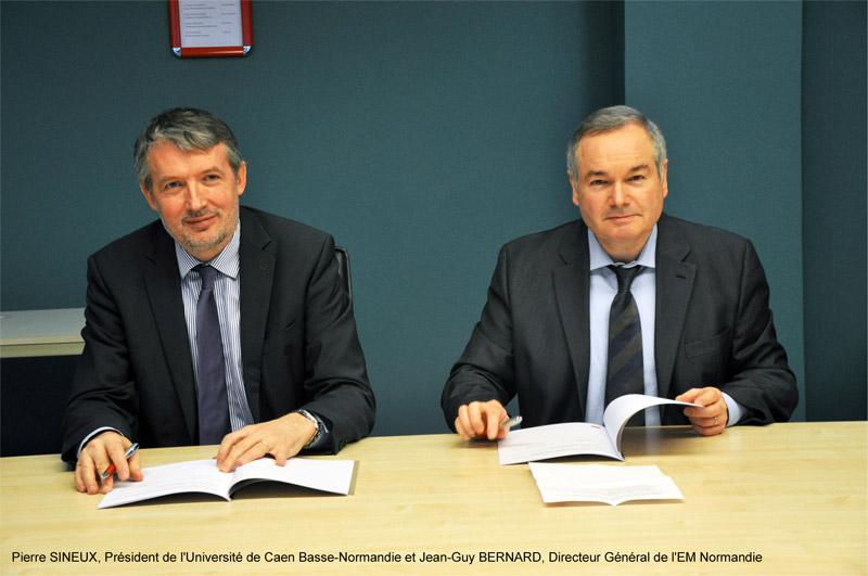L'Université de Caen Basse-Normandie et l'EM Normandie renforcent leur collaboration par la signature d'un accord cadre de coopération