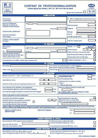 Télécharger le contrat de Professionnalisation CERFA 12434 01