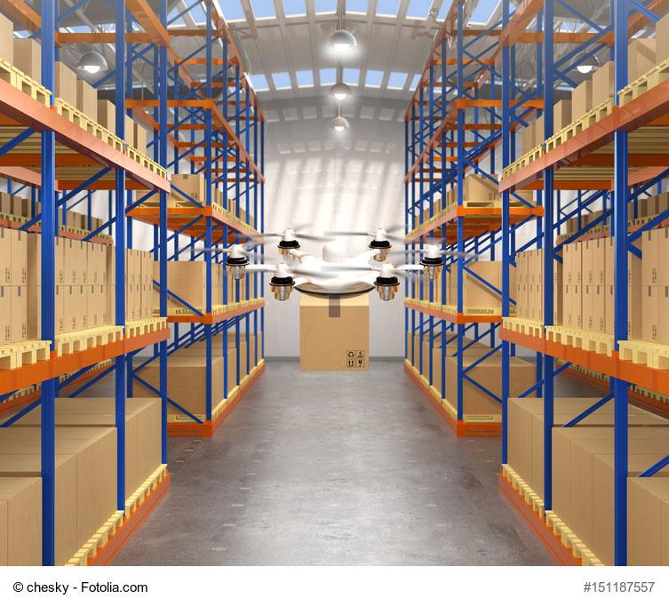 Quand les drones sont utilisés dans les entrepôts logistiques pour réaliser des Inventaires