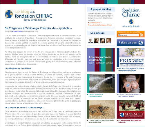La Fondation Chirac lance son blog