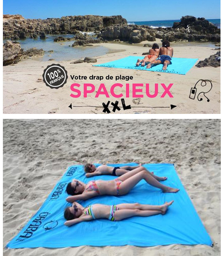 le bon plan plage avec le drap de plage xxl sign baba. Black Bedroom Furniture Sets. Home Design Ideas