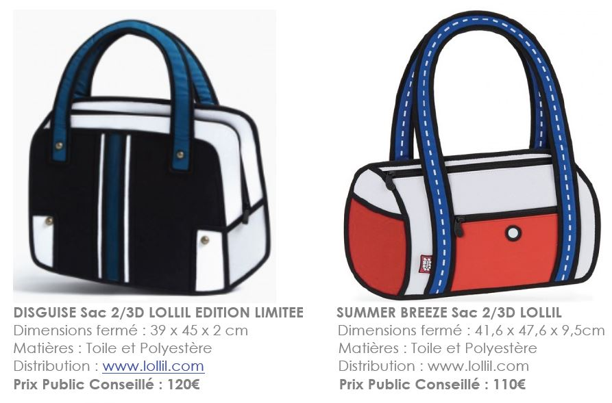 DISGUISE Sac 2/3D LOLLIL EDITION LIMITEE & SUMMER BREEZE Sac 2/3D LOLLIL