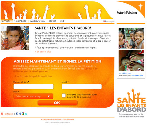 Une pétition pour les droits de l'enfant