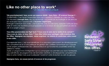 Sony lance Ultimate Place to Work !